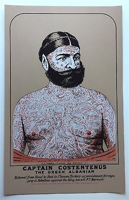 "Captain Costentenus ""The Greek Alabanian"" Tattooed Greek - Sideshow Freak POSTER"