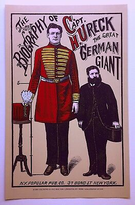 "The Biography of Captain H. Ureck -  ""The Great German Giant"" - Freak POSTER"