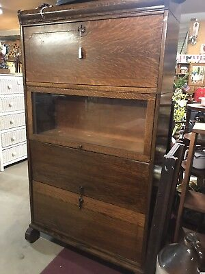Antique Lawyer Barrister Stacking Oak Bookcase Lundstrom We Ship