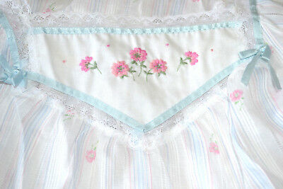 Vintage Miss Elaine Pink Cotton Blend Embroidery Short Nightgown Med