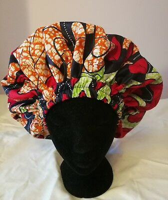Handmade African Multi-Coloured Red, Orange and Green Lined Sleep/Lounge Caps