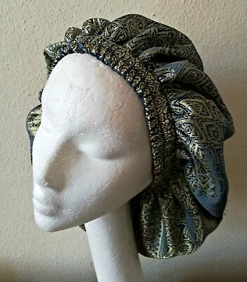 Handmade Limited Lined Sleep/Lounge cap Blue and Gold Brocade