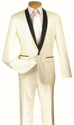 Men's Slim Fit Tuxedo Suit Single Breasted 1 Button Ivory Prom Wedding T-SS