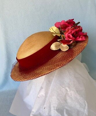 Vintage 1930's Straw And Velvet Ladies Hat