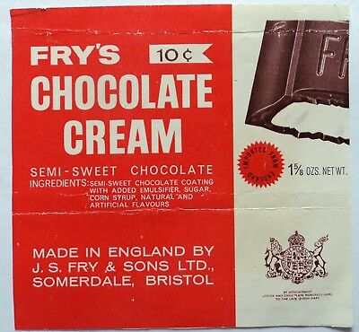 Vintage 40's 50's Candy Wrapper - Fry's Chocolate Cream - FREE SHIPPING!!!
