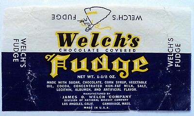Vintage 40's 50's Candy Wrapper - Welch's Fudge - FREE SHIPPING!!!