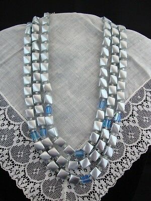 Vintage Signed JAPAN Necklace Silver Faux Pearl & Blue Glass