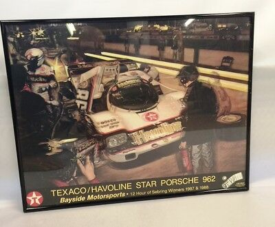 texaco/havolin star porsche 962 12 hours of sebring winner 1987&88 framed poster
