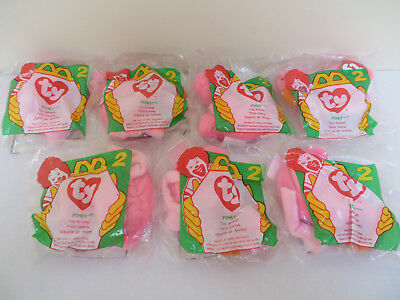 Lot of 7 McDonald's Ty Beanie Babies  Bird - # 2 -  Pinky the Pink Flamingo 1993