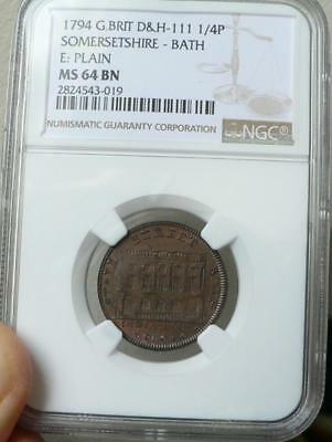 1794 Great Britain Conder 1/4 Penny Token NGC MS64 BN Somersetshire D&H-111