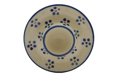 Boleslawiec ? Polish Pottery Blue White Brown Soft Egg Cup Dish Plate Holder