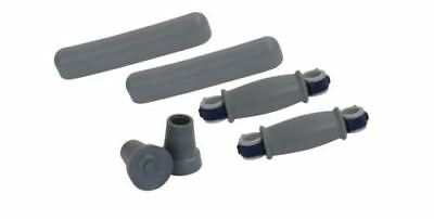 Drive Crutch Accessory Replacement Kit Set Arm Cushions Hand Grips Tips Gray