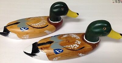 Vintage Carved Hand Painted Wooden Decorative Mallard Male Drake Duck Decoy