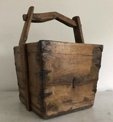 Antique Primitive Rustic Chinese Water Rice Basket Bucket w Iron Embellishments