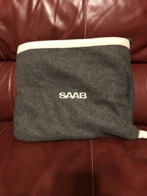 Saab Embroidered Fleece Car Blanket Charcoal Gray with Carry Handle