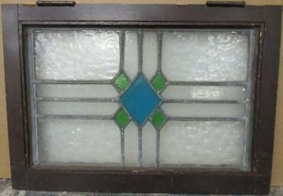 "MID SIZED OLD ENGLISH LEADED STAINED GLASS WINDOW Pretty Diamonds 22.5"" x 15.75"""