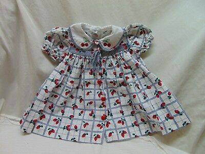 **Vintage** Baby Girl Size 18 Months Strawberry Themed Button Down Dress