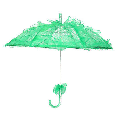 Lace Parasol Wedding Lace Flower Wedding Bride Parasol Umbrella Green G7P9