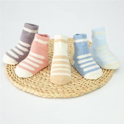5Pair Assorted Non Skid Ankle Cotton Socks Baby Toddler Anti Slip Stripes Dot LJ