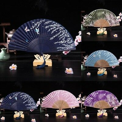 Chinese Silk Spanish Lace Folding Hand Butterfly Pattern Fan Wedding Shows Party
