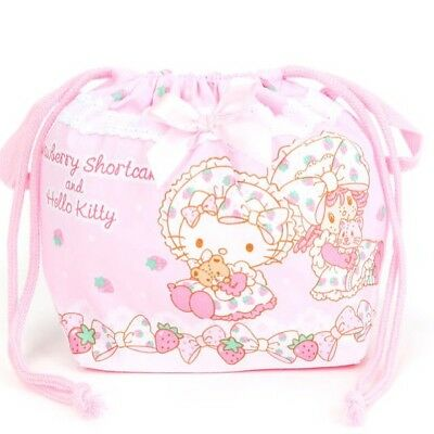 Hello Kitty x Strawberry Shortcake Drawstring Lunch Bag Sanrio Made In Japan
