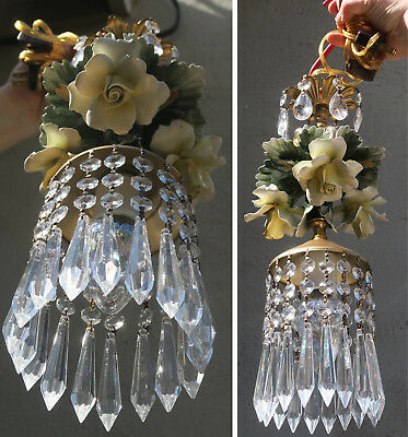 Porcelain Lemon Yellow ROSE Chandelier SWAG lamp Capodimonte Brass Vintage beads