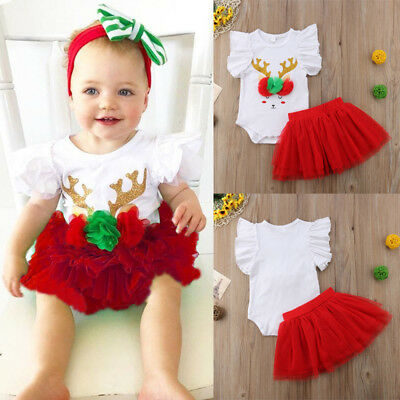 Fashion Christmas Kids Baby Girls Lace Tutu Tulle Dress Skirt Outfits Clothes AU