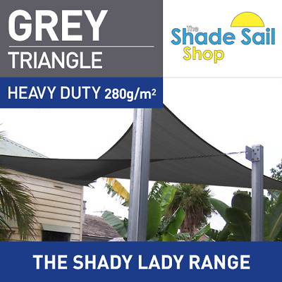 Triangle GREY 2m x 2m x 2m Shade Sail Sun Heavy Duty 280GSM Outdoor GREY 2X2X2M