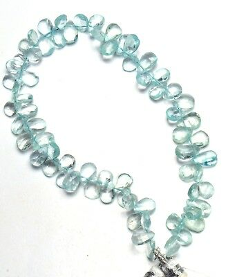 """Natural Gem Aquamarine Faceted 7x5 to 8x5MM Pear Shape Briolette Beads 9"""" Strand"""