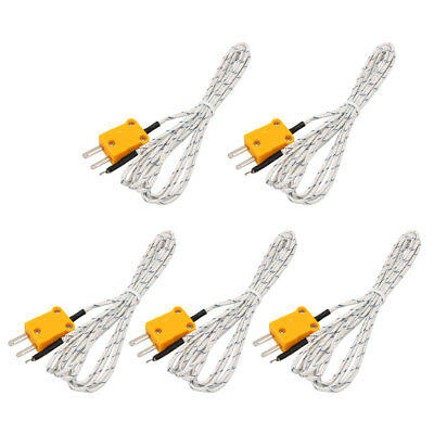 5pcs K Type Thermocouple Probe Measuring Temperature Sensor 2 Meters Long Wire