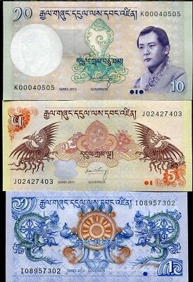 Bhutan Set 3 Pcs 1 5 10 Ngultrum Random Year P 27 28 29 Unc