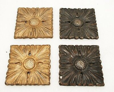 4 reclaimed cast iron heavy decorative plates / plaques - acanthus flower design
