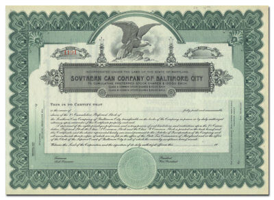 Southern Can Company of Baltimore City Stock Certificate