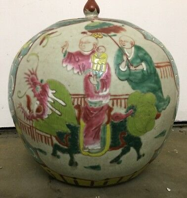 Antique CHINESE GingerJar + Lid Hand Painted Mother Child DRAGON Double Happy