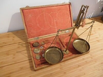 Found*antique Portable Wooden Box Set Apothecary  Scales + Brass Weights +Tray