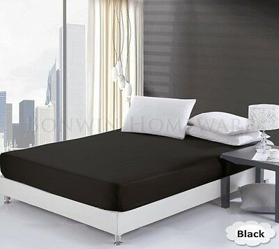 100% Egyptian Cotton Collection 1000TC 40cm King Single Size Fitted Sheet Black