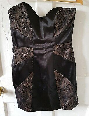 Lipsy Black Satin And Lace Strapless Cocktail Dress Size 10