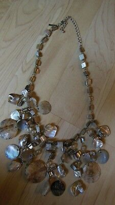Lane Bryant Mother of Pearl Shell Necklace MOP Hang Tag Statement Bib