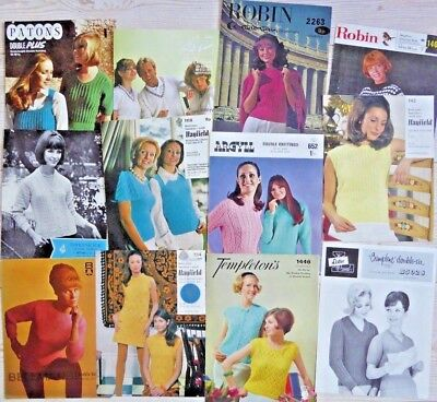 JOB LOT BUNDLE of 12 VINTAGE KNITTING PATTERN LEAFLETS womens jumpers cardigans