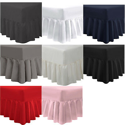 Valance Sheet Fitted Plain Polycotton Frill Bed Sheet Single Double King Bedding