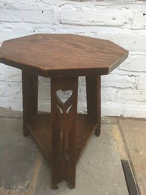 Antique Arts and Crafts  Oak Three Legged Lamp Table