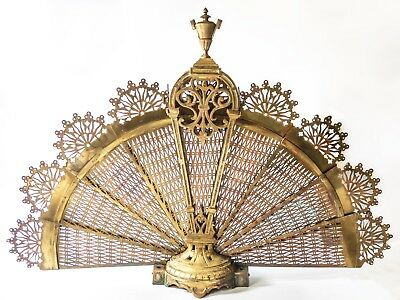 Antique French Fireplace Screen Louis XV Gilt Bronze Peacock Fan Signed