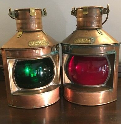 Old Tung Woo Copper Port & Starboard Nautical Ship Oil Lanterns Pair