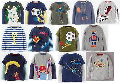 Mini Boden boys  / baby cotton applique long sleeve top / shirt age 1 - 12 NEW