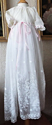 Antique  Embroidered Net Baby Christening Gown