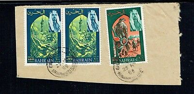 Bahrain 1969 100f x 2 + 200f stamps on piece as per scan (2)