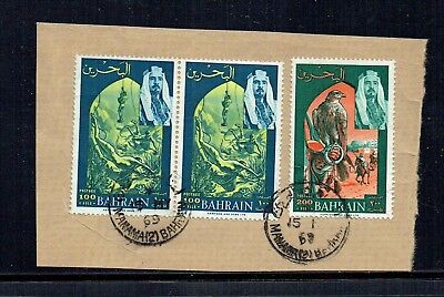 Bahrain 1969 100f x 2 + 200f stamps on piece as per scan (1)