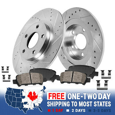 Rear Drilled & Slotted Brake Rotors & Ceramic Pads 2009 - 2014 2015 Toyota Venza