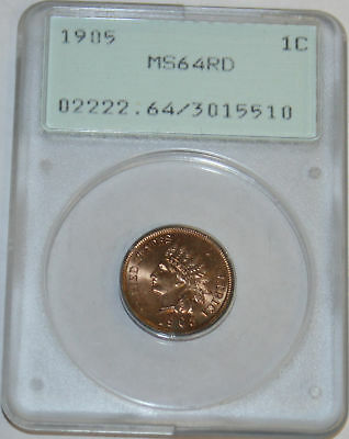 1905-P Indian Cent PCGS 3015510 MS64 RD Old Green Rattler Holder