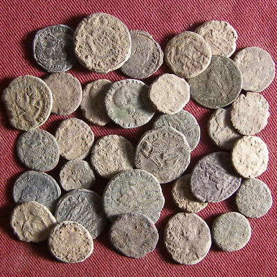 Lot of 30 Uncleaned Late Roman Bronze Coin #2